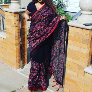 Beautiful black colorful saree